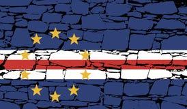 Σημαία του Πράσινου Ακρωτηρίου - Δημοκρατία του Πράσινου Ακρωτηρίου με την πέτρα Στοκ εικόνες με δικαίωμα ελεύθερης χρήσης