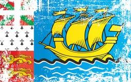 Σημαία του Σαιν Πιέρ και Μικελόν, υπερπόντια συλλογικότητα της Γαλλίας Ζαρωμένα βρώμικα σημεία απεικόνιση αποθεμάτων