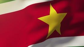 Σημαία του Σουρινάμ που κυματίζει στον αέρα Περιτυλγμένος ήλιος απόθεμα βίντεο