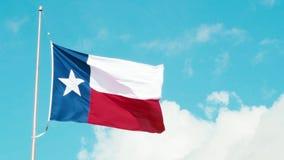Σημαία του Τέξας που κυματίζει στον αέρα απόθεμα βίντεο
