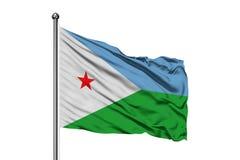 Σημαία του Τζιμπουτί που κυματίζει στον αέρα, απομονωμένο άσπρο υπόβαθρο Djiboutian σημαία στοκ εικόνες