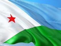 Σημαία του Τζιμπουτί που κυματίζει στον αέρα ενάντια στο βαθύ μπλε ουρανό Υψηλός - ποιοτικό ύφασμα στοκ φωτογραφία με δικαίωμα ελεύθερης χρήσης