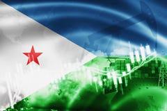 Σημαία του Τζιμπουτί, χρηματιστήριο, οικονομία ανταλλαγής και εμπόριο, παραγωγή πετρελαίου, σκάφος εμπορευματοκιβωτίων στην επιχε διανυσματική απεικόνιση