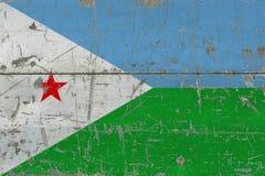 Σημαία του Τζιμπουτί Grunge στην παλαιά γρατσουνισμένη ξύλινη επιφάνεια Εθνικό εκλεκτής ποιότητας υπόβαθρο στοκ εικόνες με δικαίωμα ελεύθερης χρήσης