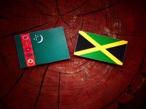 Σημαία του Τουρκμενιστάν με την τζαμαϊκανή σημαία σε ένα κολόβωμα δέντρων Στοκ Φωτογραφίες