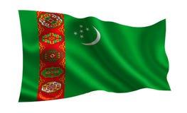 Σημαία του Τουρκμενιστάν Μια σειρά σημαιών ` του κόσμου ` Η χώρα - σημαία του Τουρκμενιστάν Στοκ Εικόνα