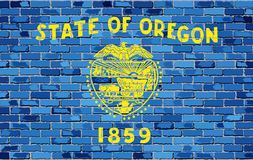 Σημαία του Όρεγκον σε έναν τουβλότοιχο απεικόνιση αποθεμάτων