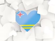 Σημαία του Aruba, διαμορφωμένες καρδιά αυτοκόλλητες ετικέττες Στοκ Εικόνα