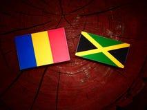 Σημαία του Chad με την τζαμαϊκανή σημαία σε ένα κολόβωμα δέντρων Στοκ Φωτογραφίες