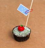 Σημαία του microneasia σε ένα cupcake Στοκ Εικόνα