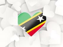 Σημαία του St Kitts and Nevis, διαμορφωμένες καρδιά αυτοκόλλητες ετικέττες ελεύθερη απεικόνιση δικαιώματος