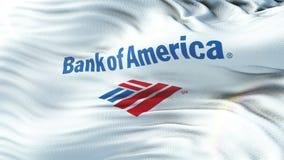 Σημαία Τράπεζας της Αμερικής που κυματίζει στον ήλιο Άνευ ραφής βρόχος με την ιδιαίτερα λεπτομερή σύσταση υφάσματος φιλμ μικρού μήκους