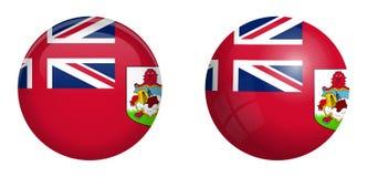 Σημαία των Βερμούδων κάτω από το τρισδιάστατο κουμπί θόλων και στη στιλπνές σφαίρα/τη σφαίρα ελεύθερη απεικόνιση δικαιώματος