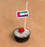Σημαία των Ε.Α.Ε. σε ένα cupcake Στοκ φωτογραφία με δικαίωμα ελεύθερης χρήσης