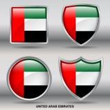 Σημαία των Ηνωμένων Αραβικών Εμιράτων στη συλλογή 4 μορφών με το ψαλίδισμα της πορείας Στοκ Εικόνες