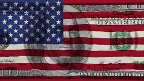 Σημαία των Ηνωμένων Πολιτειών της Αμερικής στο τραπεζογραμμάτιο εκατό αμερικανικών δολαρίων απόθεμα βίντεο