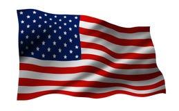 Σημαία των ΗΠΑ ή της Αμερικής που απομονώνεται στο άσπρο υπόβαθρο Στοκ Φωτογραφία