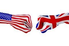 Σημαία των ΗΠΑ και του Ηνωμένου Βασιλείου Πάλη έννοιας, επιχειρησιακός ανταγωνισμός, σύγκρουση ή αθλητικά θεάματα Στοκ Εικόνα