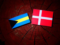Σημαία των Μπαχαμών με τη δανική σημαία σε ένα κολόβωμα δέντρων που απομονώνεται Στοκ Φωτογραφίες