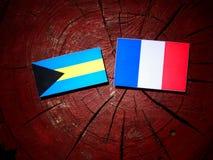 Σημαία των Μπαχαμών με τη γαλλική σημαία σε ένα κολόβωμα δέντρων που απομονώνεται Στοκ Φωτογραφίες