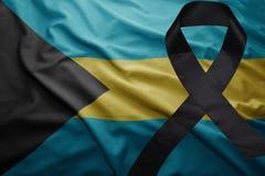 Σημαία των Μπαχαμών με τη μαύρη κορδέλλα πένθους Στοκ φωτογραφία με δικαίωμα ελεύθερης χρήσης