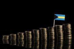 Σημαία των Μπαχαμών με το μέρος των νομισμάτων που απομονώνεται στο Μαύρο Στοκ εικόνες με δικαίωμα ελεύθερης χρήσης