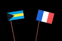 Σημαία των Μπαχαμών τη γαλλική σημαία που απομονώνεται με στο Μαύρο Στοκ εικόνα με δικαίωμα ελεύθερης χρήσης
