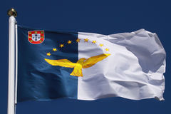 Σημαία των νησιών των Αζορών στοκ φωτογραφίες