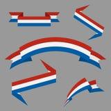 Σημαία των ολλανδικών Επίπεδες κορδέλλες καθορισμένες στοιχεία τέσσερα σχεδίου ανασκόπησης snowflakes λευκό επίσης corel σύρετε τ διανυσματική απεικόνιση