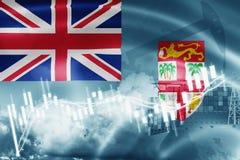 Σημαία των Φίτζι, χρηματιστήριο, οικονομία ανταλλαγής και εμπόριο, παραγωγή πετρελαίου, σκάφος εμπορευματοκιβωτίων στην εξαγωγή κ ελεύθερη απεικόνιση δικαιώματος