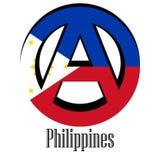Σημαία των Φιλιππινών του κόσμου υπό μορφή σημαδιού της αναρχίας διανυσματική απεικόνιση