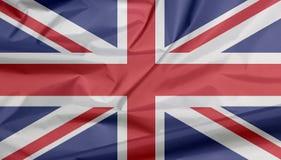 Σημαία υφάσματος του Union Jack Πτυχή του υποβάθρου σημαιών ένωσης στοκ εικόνες