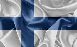 Σημαία Φινλανδία σατέν Στοκ Φωτογραφίες