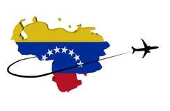 Σημαία χαρτών της Βενεζουέλας με το αεροπλάνο και swoosh την τρισδιάστατη απεικόνιση ελεύθερη απεικόνιση δικαιώματος