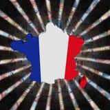 Σημαία χαρτών της Γαλλίας στην απεικόνιση έκρηξης νομίσματος Στοκ Φωτογραφία