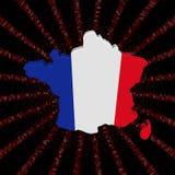 Σημαία χαρτών της Γαλλίας στην κόκκινη απεικόνιση έκρηξης κώδικα δεκαεξαδικού Στοκ Φωτογραφίες