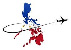 Σημαία χαρτών των Φιλιππινών με το αεροπλάνο και swoosh την τρισδιάστατη απεικόνιση Στοκ Φωτογραφία