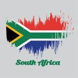 Σημαία χρώματος ύφους βουρτσών νοτιοαφρικανικός, κόκκινος και μπλε με ένα μαύρο τρίγωνο, ένα άσπρο και πράσινο οριζόντιο Υ διανυσματική απεικόνιση
