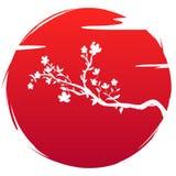 Σημαία ύφους Grunge της τέχνης εικονιδίων της Ιαπωνίας Λουλούδια και σύννεφο sakura κλάδων ανθών σκιαγραφιών στον κόκκινο ήλιο υπ απεικόνιση αποθεμάτων
