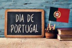 Σημαία Dia de Πορτογαλία και πορτογαλικά κειμένων Στοκ φωτογραφία με δικαίωμα ελεύθερης χρήσης