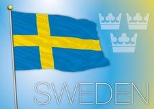 Σημαία Eweden Στοκ φωτογραφία με δικαίωμα ελεύθερης χρήσης