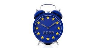 Σημαία GDPR και της Ευρωπαϊκής Ένωσης σε ένα ξυπνητήρι που απομονώνεται στο άσπρο υπόβαθρο τρισδιάστατη απεικόνιση απεικόνιση αποθεμάτων