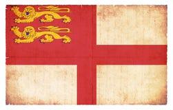 Σημαία Grunge των βρετανικών κτημάτων κορωνών Sark Στοκ Εικόνες