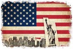 Σημαία Grunge των ΗΠΑ με τα μνημεία Στοκ Φωτογραφία