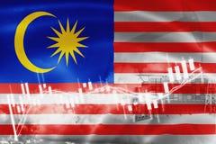 Σημαία Malasia, χρηματιστήριο, οικονομία ανταλλαγής και εμπόριο, παραγωγή πετρελαίου, σκάφος εμπορευματοκιβωτίων στην εξαγωγή και ελεύθερη απεικόνιση δικαιώματος