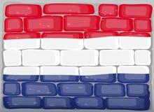 Σημαία Netherland που χρωματίζεται στο brickwall Στοκ φωτογραφία με δικαίωμα ελεύθερης χρήσης