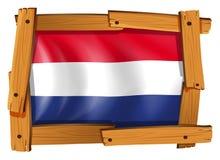 Σημαία Netherland στο ξύλινο πλαίσιο Στοκ Εικόνα
