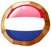Σημαία Netherland στο στρογγυλό διακριτικό Στοκ εικόνα με δικαίωμα ελεύθερης χρήσης