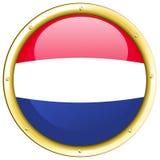 Σημαία Netherland στο στρογγυλό διακριτικό Στοκ Φωτογραφία