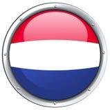 Σημαία Netherland στο στρογγυλό πλαίσιο Στοκ φωτογραφία με δικαίωμα ελεύθερης χρήσης